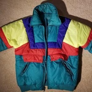 Vintage color blocks puffer jacket women's